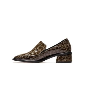 NWOT L'intervalle Galati Brown Croc Patent Leather 70s Square Toe Slip On Loafer